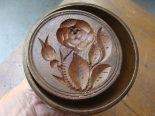 19th C 1/4 Lb Maple Butter Mold,  Rose And Rosebud, photo