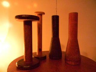 Vintage Wooden Textile Spools ~ 4 ~ photo
