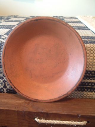 ~lovely Distressed Pumpkin Orange Wooden Bowl~perfect For The Holidays ~ photo