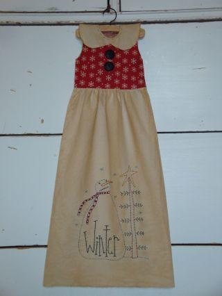 Primitive Decorative Dress,  Tea Dyed,  Hand Made,  Doll photo