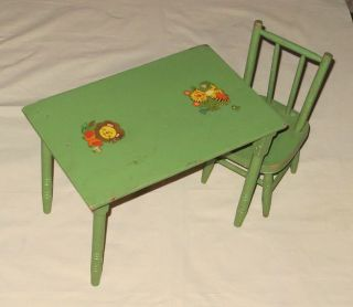 Vintage Wood Folding Childs / Doll Table & Matching Chair photo