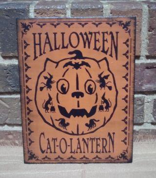 Primitive Style Halloween Wood Sign Halloween Cat~o~lantern Hp Orange photo