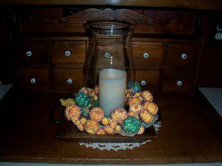 Fall Candle Lamp Centerpiece - Pumpkin Ring photo