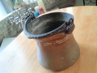 Antique Copper Pot With Cast Iron Handle photo