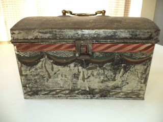 Early American Painted Tin Document Box With Swag Decoration And Brass Handle photo
