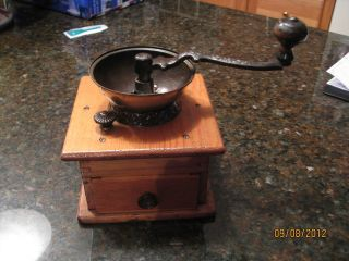 Vintage Wood & Cast Iron Coffee Grinder By C.  P.  Co. photo