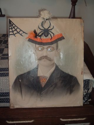 Wonderful Folkart Halloween Picture Old Picture On Wooden Frame ~ photo