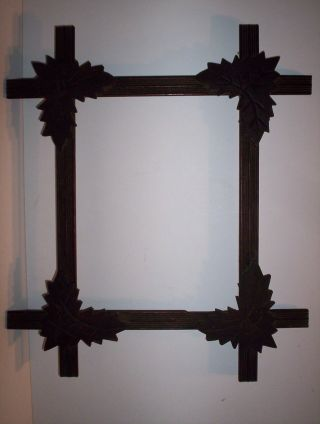 Antique Adirondack Picture Frame Wooden Leaf Corners Hand Incised Orig Finish photo