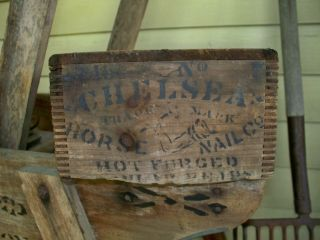 Vtg Wooden Chelsea Horse Nail Co Box Ship Crate Louisville Primitive Farm Decor photo