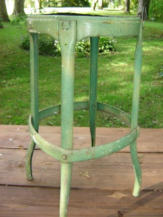 Old Metal Milk Stool=green Paint=spayed Legs=solid= photo