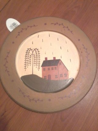 Primitive~salt Box House Wooden Plate Decor~new photo