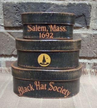 Primitive Style Halloween Small Shaker Boxes Black Hat Society Handpainted photo
