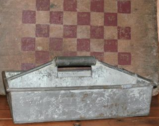 Old Tin Divided Utensil Carrier Tote Caddy ~ Unusual ~ Primitive photo