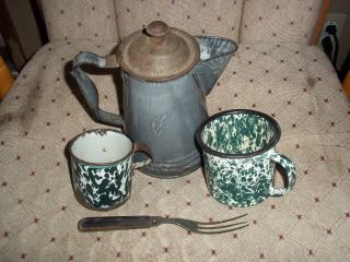 Vintage Primitive Green Enamelware Gathering Coffee Pot Cups Antique Fork photo