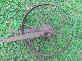 Antique Iron Wagon Wheel - 15 1/2