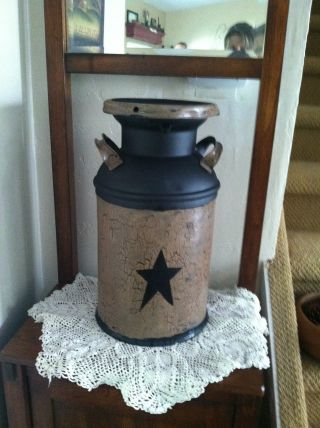 Primitive,  Americana,  Country,  Farmhouse Vintage,  Antique Milk Can Decor photo