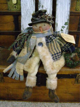 Primitive Snowman Doll Old Wool Antique Quilt Folk Art Snowman Doll - Christmas photo