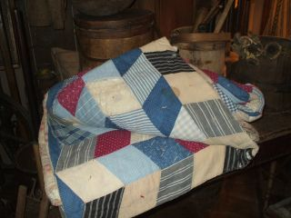 Olde Amish Primitive/antique Handmade Early Quilt photo