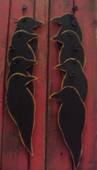Primitive Farmhouse Crow Ornaments Wood (8) photo
