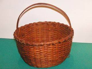 Rare Vintage Americana 19th Cent Finely Natural Patina Split Oak Handled Basket photo