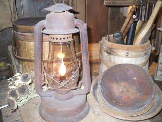 Olde Primitive Early Rusty Lantern Lighting Make - Do photo