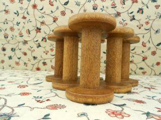 Set Of 5 Wood Silk Spool Bobbins Patina (53) photo