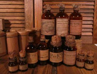 Primitive Country Shaker Seeds Amber Bottle Jar Label Set Shaker ' S Society photo