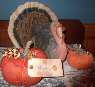Primitive Autumn Turkey Doll And Pumpkins ~ Thanksgiving Folk Art photo