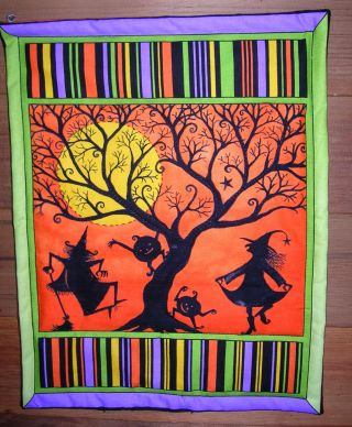 Primitive Halloween Wallhanging Quilt Witches Moon Goblins Halloween Wall Sign photo