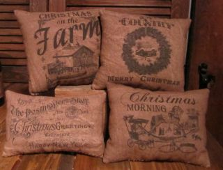 Set Of 4 Christmas Theme Primitive Country Pillow Tucks Bowl Fillers photo