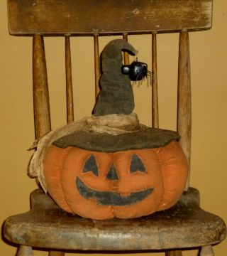 Large Primitive Halloween Jack - O - Lantern Witch Doll W/spider Shelf/table Sitter photo