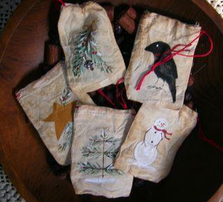 Primitive Christmas Handpainted Cloth Pot Pourri Tiny Gift Ornament Cloth Bag photo