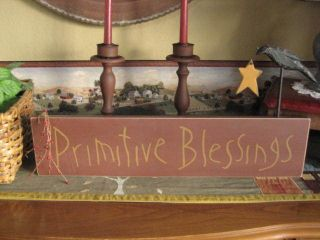 Hanging Painted Wooden Sign Primitive Blessings With Crow photo