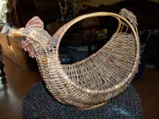 Antique Weav Stick Wicker Chicken Egg Basket Primitive photo