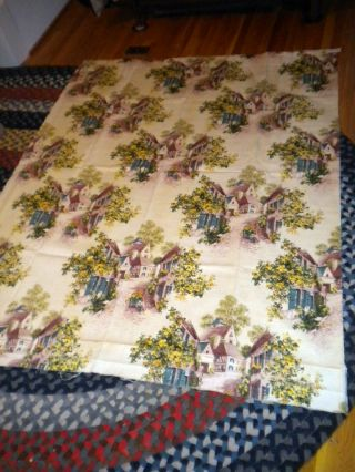 Antique Vintage Barkcloth Fabric Romantic Roses Figural 48x60 Good Off Wht photo
