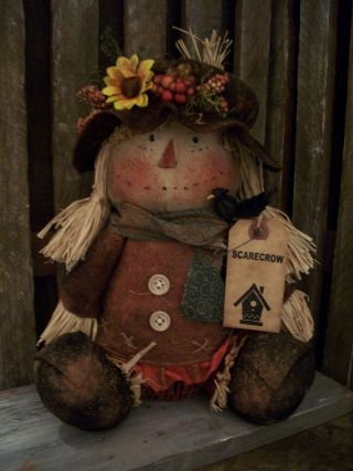 Primitive Scarecrow Girl Doll == Sits Alone ==weighted Bottom ==sitting Only= photo