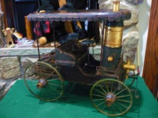 Early 1900 ' S Large Horseless Carriage Folk Art One Of A Kind - Metal And Wood photo
