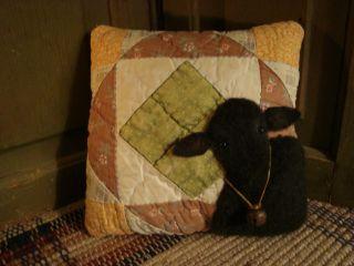 Primitive Folk Art ~ Black Sheep On Antique Quilt Cupboard Pillow photo