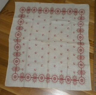 Antique Rare19thc.  Turkey Red&brown Floral Bandana 19x21 Good Condition photo