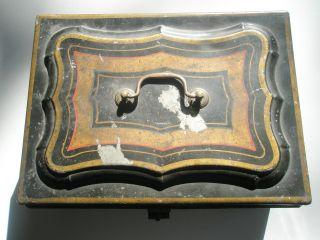 Antique Metal Toleware Document Box Safe Primitive Folk Art Pennsylvania Dutch photo