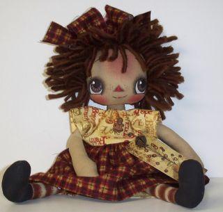 Primitive Folk Art Raggedy Doll Annie Ann Tag Holiday Christmas Autumn photo