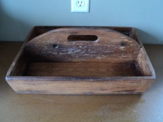 Vtg Primitive Rustic Country Hand Made Wood Divided Carrier Tray photo