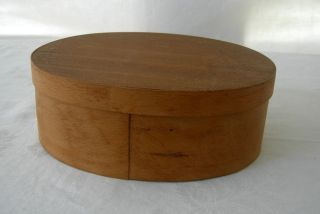 Vintage Oval Cherry Wood Wooden Pantry Box Marked Jugoslavija photo