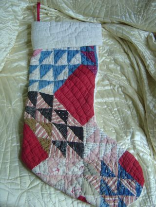 Vintage Primitive Cutter Quilt Piece Christmas Stocking Vintage Country Cottage photo