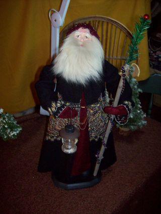 German Style Santa,  Vintage Embroidered Wool Coat,  Vintage Lantern photo