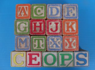 Lot 17 Vintage Wooden Blocks Wood Toys Old Letter Number Animal Nursery Rhymes photo