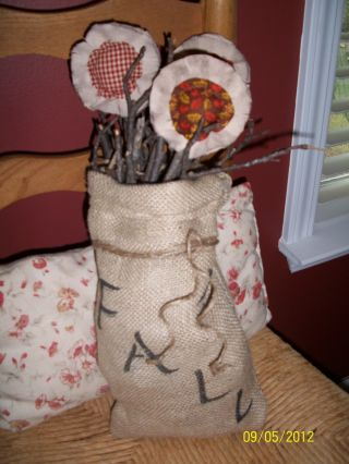 Primitive Handmade Grungy Fall Burlap Sack W/ Sunflowers photo