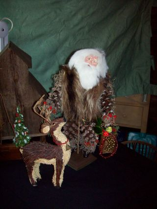 Large Pinecone Santa And Deer photo