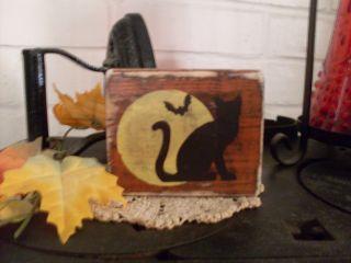 Primitive Halloween Cat Full Moon Bat Wood Shelf Sitter Block Country Decor Cute photo