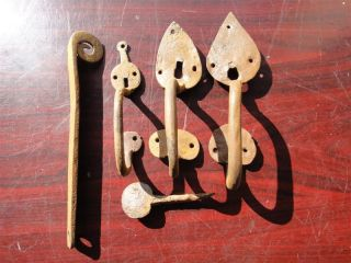 3 Authentic Old House Or Barn Iron Door Handles 18 - 19x Century photo